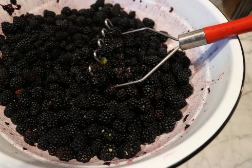 mashed up blackberries
