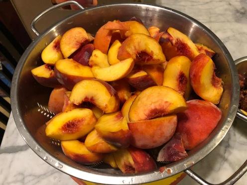 Peaches in collander