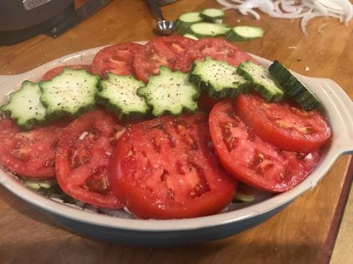 tomato casserole in progress