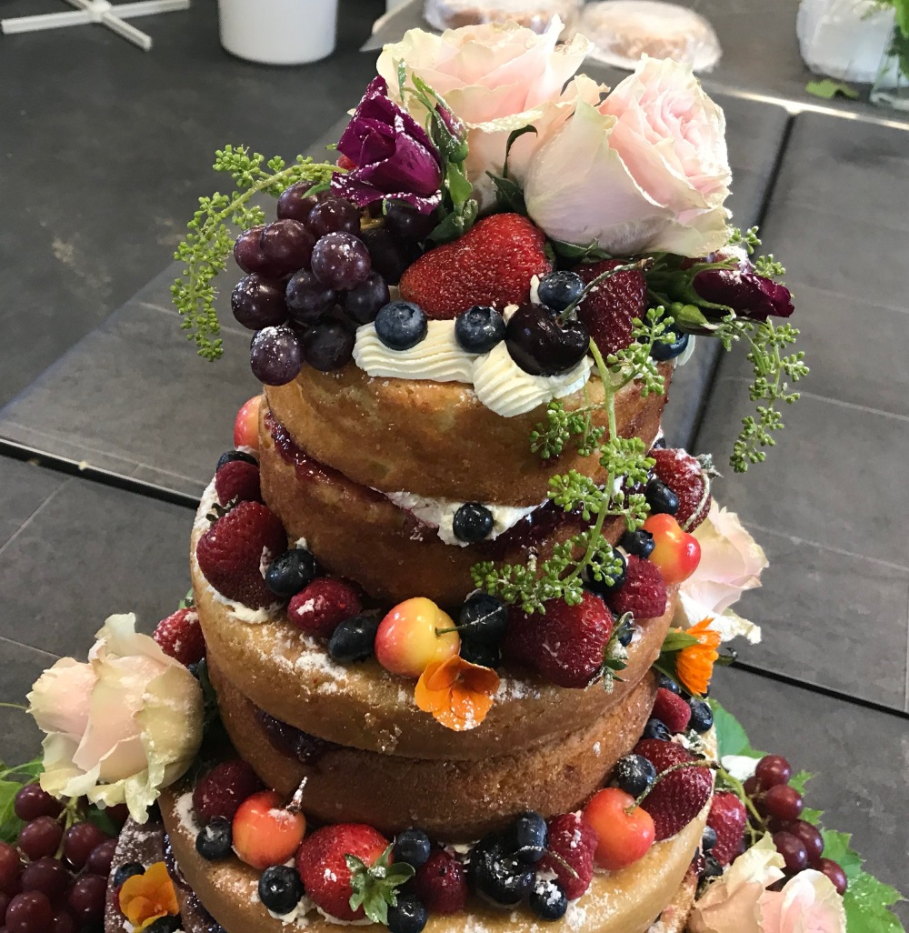 top of naked cake