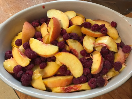 making peach crisp